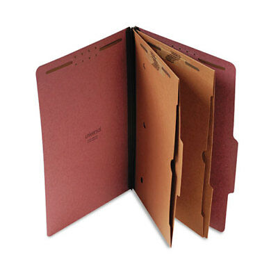 Pressboard Folder with 2 Dividers, Legal, Six-Section, Red, 10/Box