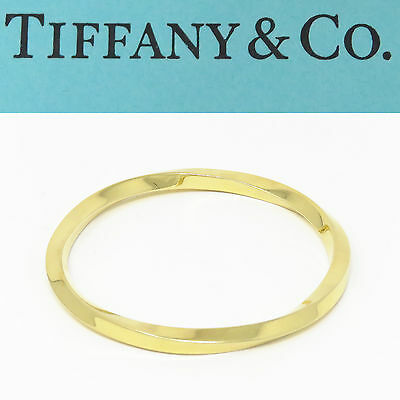 NYJEWEL Tiffany & Co. 18K Yellow Gold Italy Spiral Twist Heavy Bangle Bracelet
