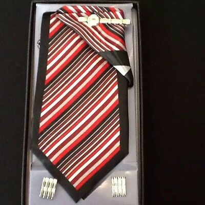 Mens CLERICCI -Red multi color-Tie Set- Cuff Links, Hankie and Tie Clip-NEW
