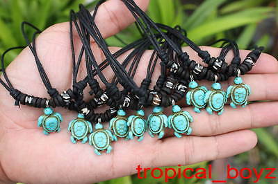 10 Handmade Artificial Stone BLUE SEA TURTLE with Bone Beads Necklaces Wholesale