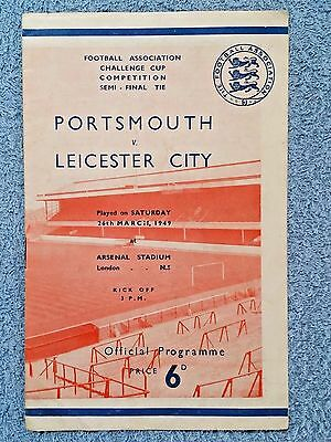 1949 - FA CUP SEMI FINAL PROGRAMME - PORTSMOUTH v LEICESTER CITY