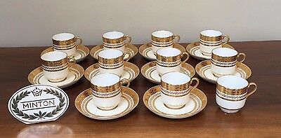 Antique MINTON FOR TIFFANY Gold Encrusted Demitasse Cup & Saucer ~ Set of 10