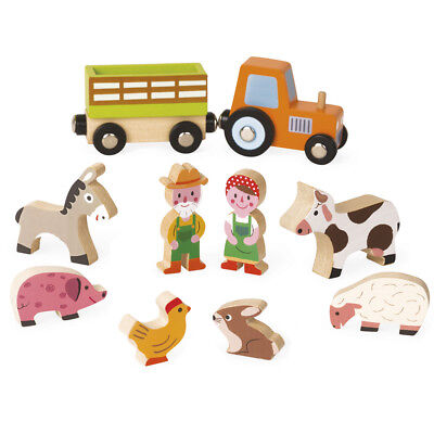 Janod Mini Story Farm Play Set - Children's Wooden Play Animals and Tractor