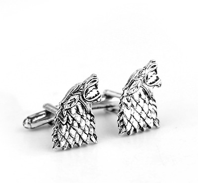Game of Thrones - Stark Cufflinks Plated Tie Clamp Pin Wedding Groom