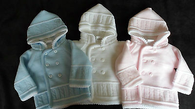 1x Baby Boys/Girls Knitted Double Breasted Hooded Pram Jacket