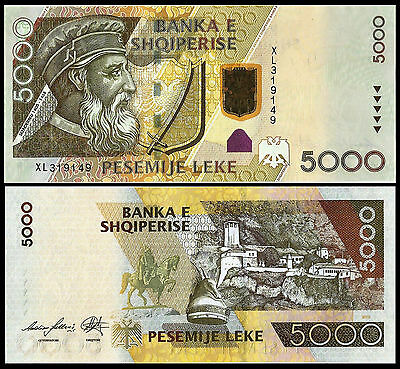 Albania 5000 leke Paper Money, Banknote of 2013. PICK 75. UNC