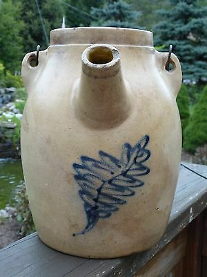 1880's Stoneware Cobalt Blue 1 Gal. BATTER JUG Pail WHITES Utica, NY Wood Handle