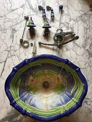 Sherle Wagner Hand Painted The Lillies Italian Porcelain Sink &pictured Hardware