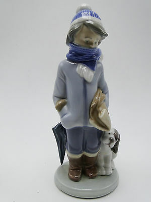 Retired Lladro Porcelain Winter 8in Boy with Dog Figure #5220G