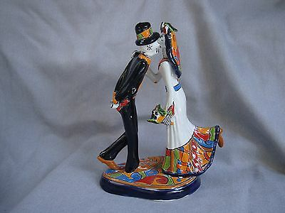 Day of the Wedding Couple kissing, Talavera handmade, cake topper, Garcia art