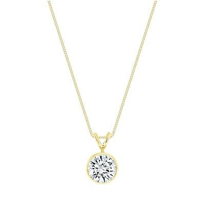 """2 Ct Round Cut Solid Real 14k Yellow Gold Solitaire Bezel Pendant 18"""" Necklace"""