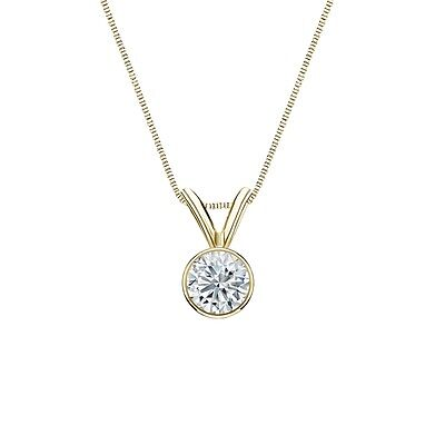 """1.50 Ct Round Cut Real 14k Yellow Gold Solitaire Bezel Pendant 18"""" Necklace"""