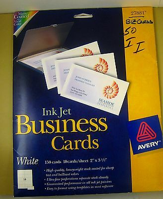 "NEW Avery WHITE BUSINESS CARDS #27881 (150 cards) 2"" x 3-1/2"" Matte Inkjet 3.5"