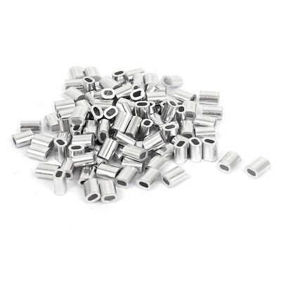100 Pcs 1mm Steel Wire Rope Aluminum Ferrules Sleeves Silver Tone B6Z7