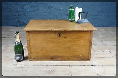 Antique Pine Tack Box / Small Trunk / Chest / Blanket Box - Coffee Side / Table