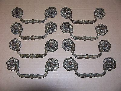 (8) Antique Solid Brass  Drawer Pulls / Handles  -- Original Screws Included