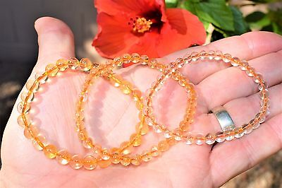 Premium CHARGED Citrine Crystal 4mm - 7mm Bead Bracelet Stretchy ENERGY REIKI