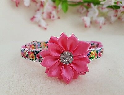 Cutie Pie Pink Flowers Dog/Puppy/Chihuahua Collar.6 sizes