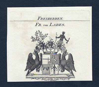 ca. 1820 Labes Wappen Adel coat of arms Kupferstich antique print heraldry