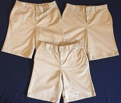 3 Pair Lands End, School Uniform Shorts, Boys 14H Husky Plain Front Chino, Khaki