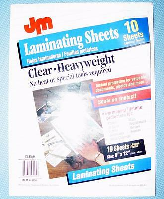 "JM Self-Laminating Sheets Clear Heavyweight 9"" x 12"" #43190 9 Sheets Made in USA"