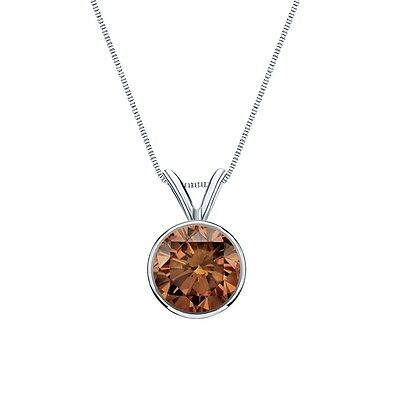 """3 Ct Round Cut Brown Real 14k White Gold Solitaire Bezel Pendant 18"""" Necklace"""