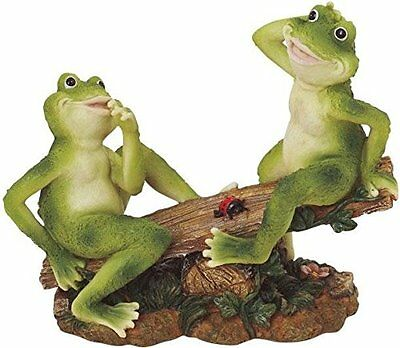 "2 Frogs on Seesaw Garden Decoration Collectible Figurine 7"" H x 8"" W Polyresin"