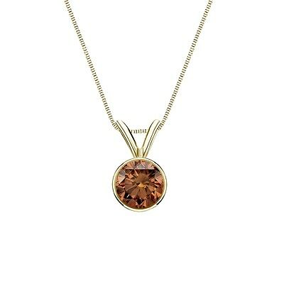"""2 Ct Round Cut Brown Real 14k Yellow Gold Solitaire Bezel Pendant 18"""" Necklace"""