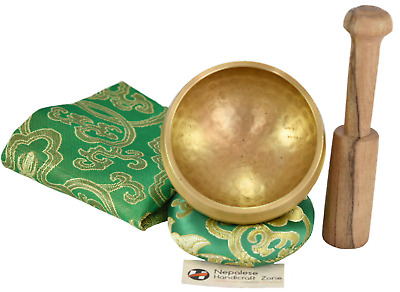 "NHZ Meditation Yoga Singing Bowl With Mallet, Cushion & Brocade Bag 3"" Green Set"
