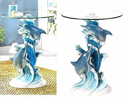 Lovingly Sculpted Artistry ** PLAYFUL DOLPHINS ACCENT-END-SIDE-NIGHT TABLE * NIB