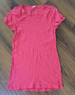J Crew- Solid Coral Long 100% Cotton Short Sleeve Women's T Shirt- Size L