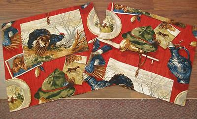 Vintage 1950's Red Antique Country Barkcloth Cushion Covers Mid Century Retro