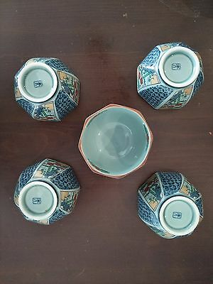 5 x Imari arita 5 inch bowls/cups with floral elements & blue detail