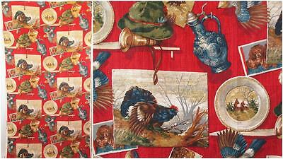 Vintage 1950's Red Antique Country Barkcloth Fabric Material Mid Century Retro