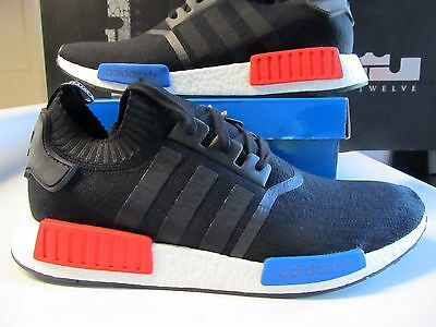 reputable site d020b 3f426 ADIDAS NMD R1 Runner PK PRIMEKNIT Core Black Red Blue OG 13 S79168 ultra  Boost