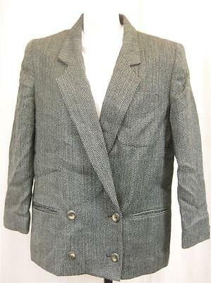 Vintage 80's Womens Blue Black Tweed Wool Jacket Size 12/14 M Smart Blazer Retro