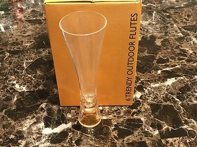 Veuve Clicquot Ponsardin Champagne Outdoor Trendy Flutes Acrylic Qty. Six  Rare