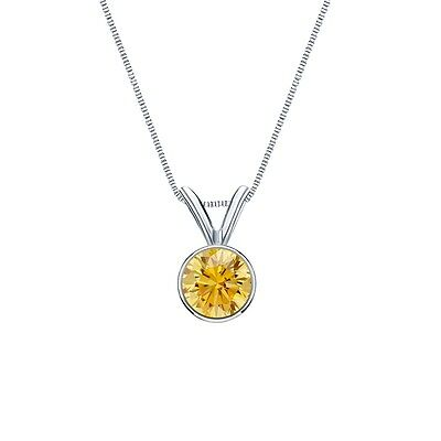"""1 Ct Round Cut Canary Real 14k White Gold Solitaire Bezel Pendant 18"""" Necklace"""