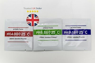 pH Meter Tester Buffer Powder Calibration Packs 4.01, 6.86  and 9.18