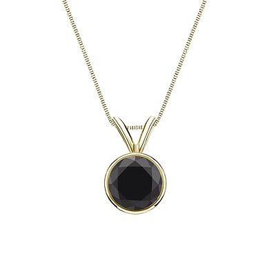 """2 Ct Round Cut Black Real 14k Yellow Gold Solitaire Bezel Pendant 18"""" Necklace"""
