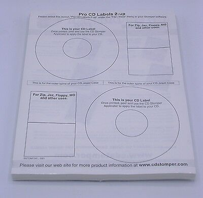 150 CD Stomper Labels on 75 Sheets and 10 CD Jewel Case Inserts - Sealed Pack