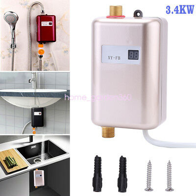 Mini Tankless Instant Electric Hot Water Heater Kitchen Bathroom Shower 3400W