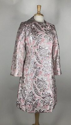 Chic VTG 50s 60s Pink Metallic Shift Princess Dress & Coat Cocktail Set S M