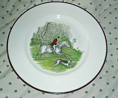 c1950s CROWN STAFFORDSHIRE FOX HUNTING PLATE THE RIDER WITH THE LEAD HOUND