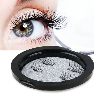 2 Pair Magnetic Eye Lashes 3D Reusable False Magnet Eyelashes Extension No Glue