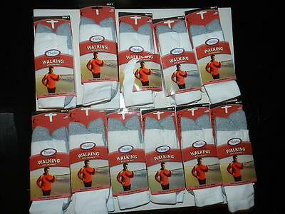 11 Pair Men's THORLOs Walking Socks WHITE large Thin Cushion Coolmax Lot