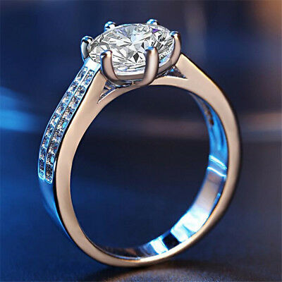 Round Ring Engagement Rings 6 Prongs Setting Cubic Zirconia Anel Jewelry