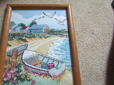 "Beautiful Framed Cross Stitch Beach Scene With Boat And Sea Gulls 10"" By 13"""