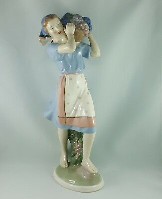 """Count Thun Porcelain Factory Figurine Woman With A Basket Of Grapes, 13"""" High"""