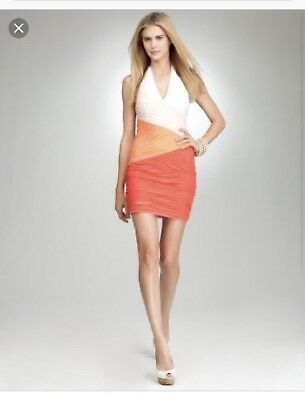 NWOT Bebe Coral , Orange , Peach Color-block Deep V Neckline halter  Dress